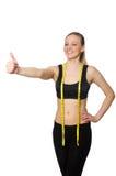 La donna nel concetto di sport isolata su bianco Fotografia Stock Libera da Diritti