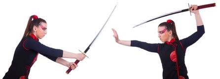 La donna nel concetto giapponese di arte marziale Fotografia Stock Libera da Diritti