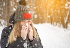 La donna nel legno nella sciarpa di nevicata che starnutisce e che usando un tessuto, ritratto Immagine Stock