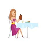 La donna nel ristorante per la cena Stile del fumetto e del piano Illustrazione di vettore su un fondo bianco Immagine Stock
