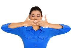 La donna, non parla la malvagità Fotografie Stock Libere da Diritti