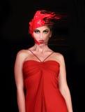 La donna notevole con vernice ha versato sui suoi capelli Fotografie Stock