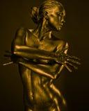La donna nuda gradice la statua in metallo liquido Fotografie Stock