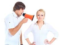 La donna ottiene il earful da Fotografie Stock Libere da Diritti