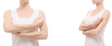 La donna passa l'insieme di salute di bellezza della medicina dei gomiti Fotografia Stock Libera da Diritti