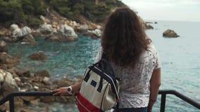 La donna pensierosa sta considerando la riva di mare di stupore nel tempo di marea, vista della parte posteriore stock footage