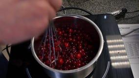 La donna prepara l'inceppamento del ribes rosso, femmina produce la marmellata d'arance per i piatti, il concetto mangiante e di  fotografia stock libera da diritti