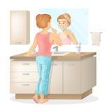 La donna pulisce i denti illustrazione vettoriale