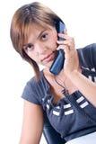 La donna risponde al telefono Immagine Stock