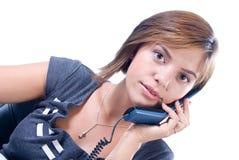 La donna risponde al telefono Immagine Stock Libera da Diritti