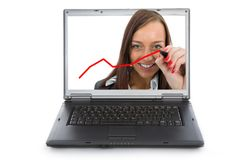 La donna scrive su vetro Fotografie Stock
