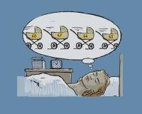 La donna senza figli cade addormentato Immagini Stock