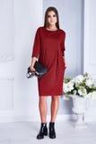 La donna sexy di bellezza copre il vestito rosso da modo di stile del catalogo Fotografia Stock Libera da Diritti