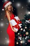 La donna sexy in un cappello rosso di Santa che giudica regalo-scatole si avvicina all'albero di Natale Fotografia Stock