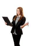 La donna Shirty di affari tiene i appunti Fotografia Stock Libera da Diritti