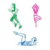 La donna si è impegnata negli sport, forma fisica, funzionamento, schizzo, vettore Immagine Stock Libera da Diritti