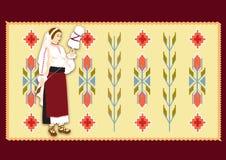 La donna si è vestita in vestiti tradizionali Immagini Stock