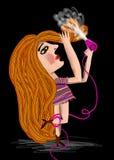 la donna si asciuga fuori dai capelli Fotografia Stock