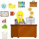 La donna si siede allo scrittorio con il computer ed al messaggio di testo di battitura a macchina in ufficio royalty illustrazione gratis