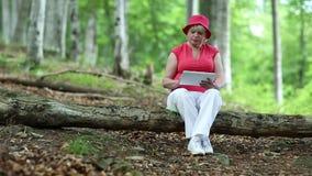 La donna si siede su un albero caduto nella foresta ed utilizza il PC della compressa stock footage