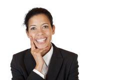 La donna sicura di sé di affari sorride felice fotografie stock libere da diritti
