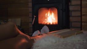 La donna sola sta trovandosi in vino bevente di Front Of The Fireplace And da un vetro stock footage