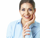 La donna sorridente di affari ha isolato il ritratto, fondo bianco Immagini Stock