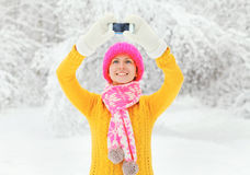 La donna sorridente felice fa l'autoritratto sullo smartphone nell'inverno Fotografia Stock Libera da Diritti
