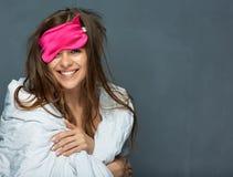 La donna sorridente sveglia il ritratto di concetto Immagine Stock Libera da Diritti