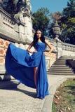 La donna splendida con capelli scuri indossa il vestito lussuoso ed il gioiello Fotografie Stock
