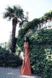 La donna splendida con capelli scuri indossa il vestito lussuoso ed il gioiello Immagini Stock