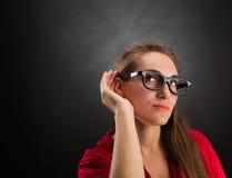 La donna sta ascoltando Immagine Stock Libera da Diritti