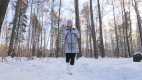La donna sta camminando nel legno Il viaggiatore è passeggiata nella foresta della betulla nel parco della città La ragazza cammi archivi video