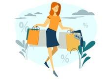 La donna sta comperando Bella ragazza con i pacchetti fashionable Illustrazione di vettore, stile del fumetto illustrazione di stock