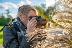 La donna sta prendendo la fotografia nella natura immagini stock