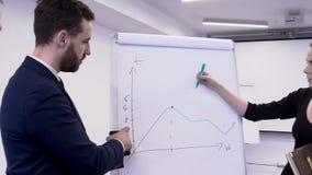 La donna sta tracciando il grafico sul bordo bianco, che è discusso dall'uomo di affari video d archivio