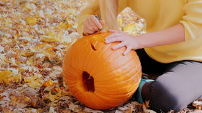 La donna taglia una zucca nella sua iarda Zucca che si trova sulle foglie di autunno gialle stock footage
