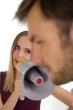 Donna e megafono Fotografia Stock Libera da Diritti