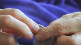 La donna tricotta i ferri da maglia del maglione stock footage