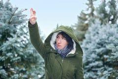 La donna triste sta toccando i rami di albero dell'abete nella foresta dell'inverno immagini stock libere da diritti
