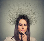 La donna turbata con l'espressione preoccupata del fronte osserva chiuso ed il cervello che si fondono nelle linee Fotografia Stock Libera da Diritti