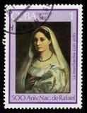 La donna velata by Rafael. CUBA - CIRCA 1983: A stamp printed in Cuba shows `Portrait La donna velata`, 1514-1515 painting by artist Rafael, series Raffael stock images