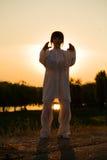 La donna in vestito bianco ha reso il taiji chuan - 13 Immagini Stock Libere da Diritti