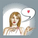 La donna vi ama Immagine Stock