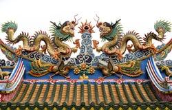 La doppia scultura cinese del drago Fotografia Stock Libera da Diritti