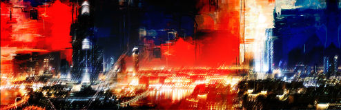 La Doubai alla notte Immagini Stock