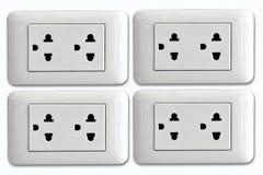 La double prise de courant électrique et la prise simple ont branché Photos stock