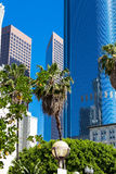 LA Downtown Los Angeles Pershing Square palm tress and skyscrape Stock Photo