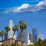 LA Downtown Los Angeles Pershing Square palm tress Stock Photography