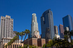 LA Downtown Los Angeles Pershing Square palm tress Stock Images